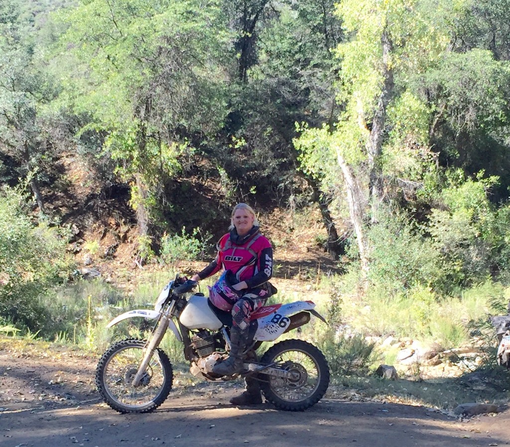 Shea on her Honda XR400